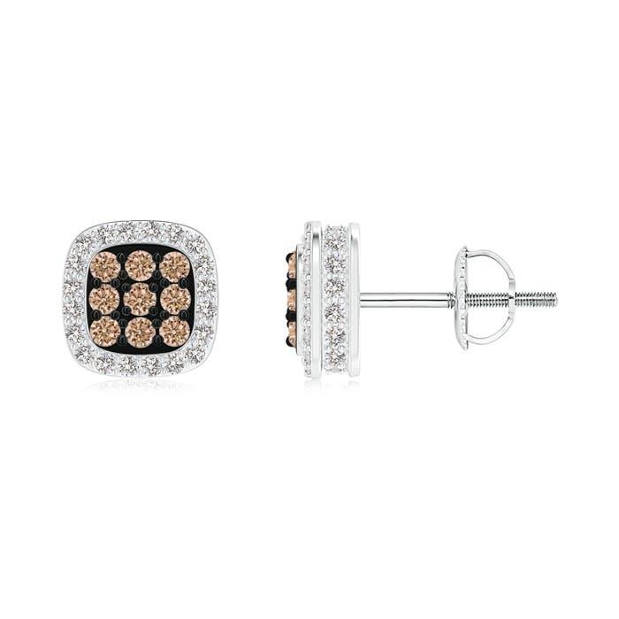 Angara s Brown Diamond Stud Earrings in White Gold bX7sy