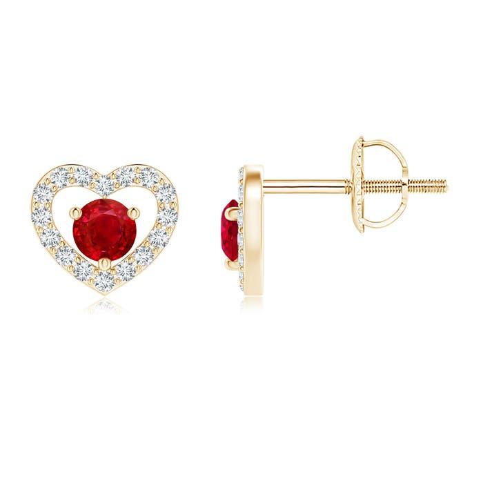 Angara Square Cut Ruby Stud Earrings in 14k Rose Gold c99AjMD