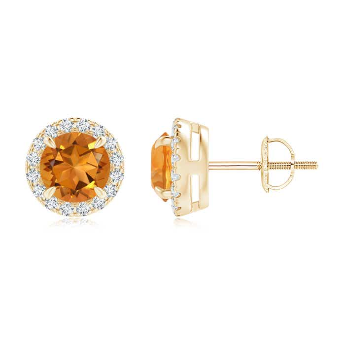 Angara Citrine Stud Earrings with Bar-Set Diamond Halo in White Gold RILXRsrycj