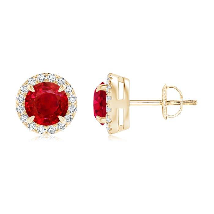 Angara Ruby and Diamond Halo Stud Earrings in White Gold Mz8Jsad