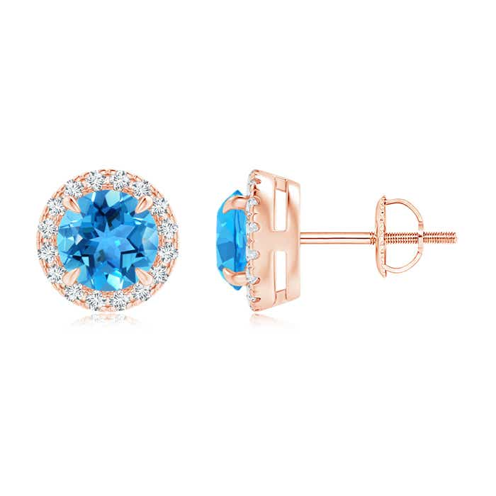 Angara Claw-Set Swiss Blue Topaz and Diamond Cushion Halo Earrings YnDq1h