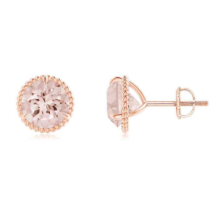 Angara Rope Framed Claw-Set Morganite Martini Stud Earrings 4yuuJee