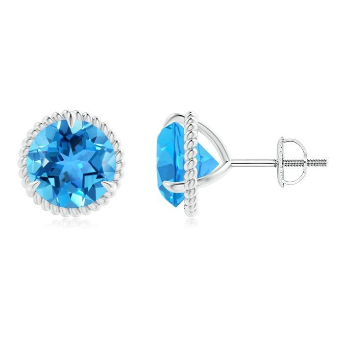 Rope Framed Claw-Set Swiss Blue Topaz Martini Stud Earrings - Angara.com