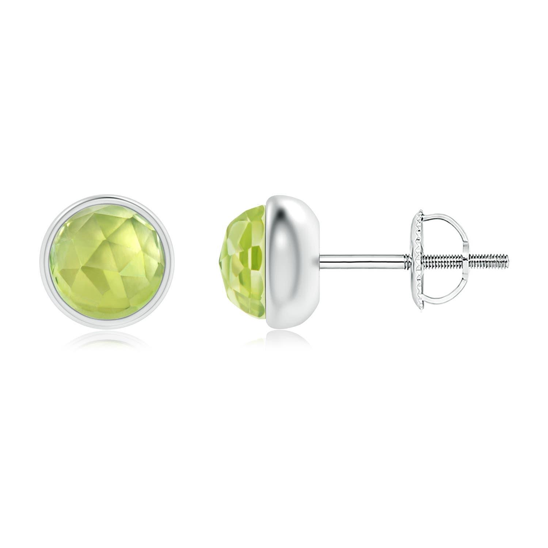 Angara Natural Peridot Stud Earrings in White Gold fhWea