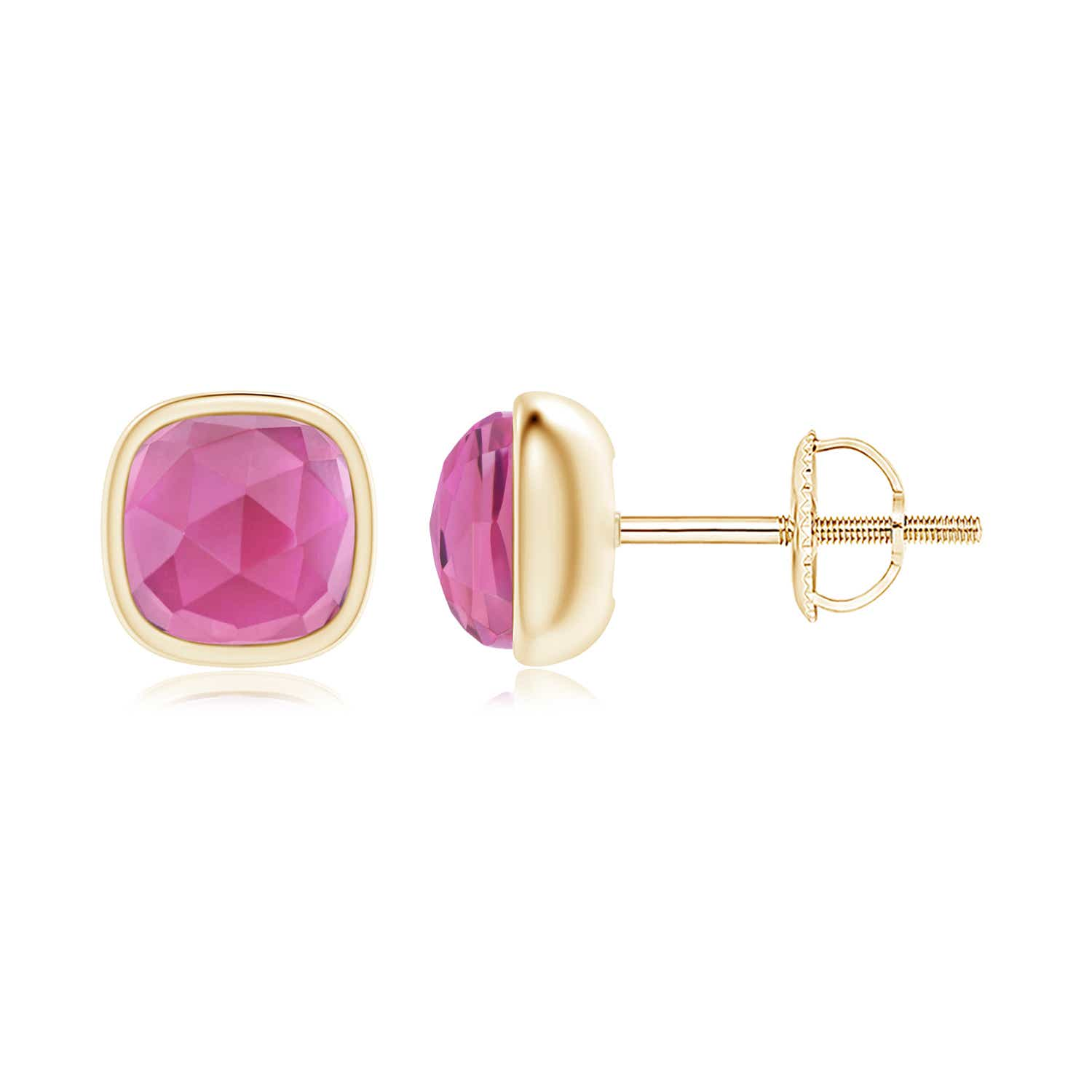 Angara Oval Pink Tourmaline Stud Earrings with Diamond in 14K White Gold OhNj5V