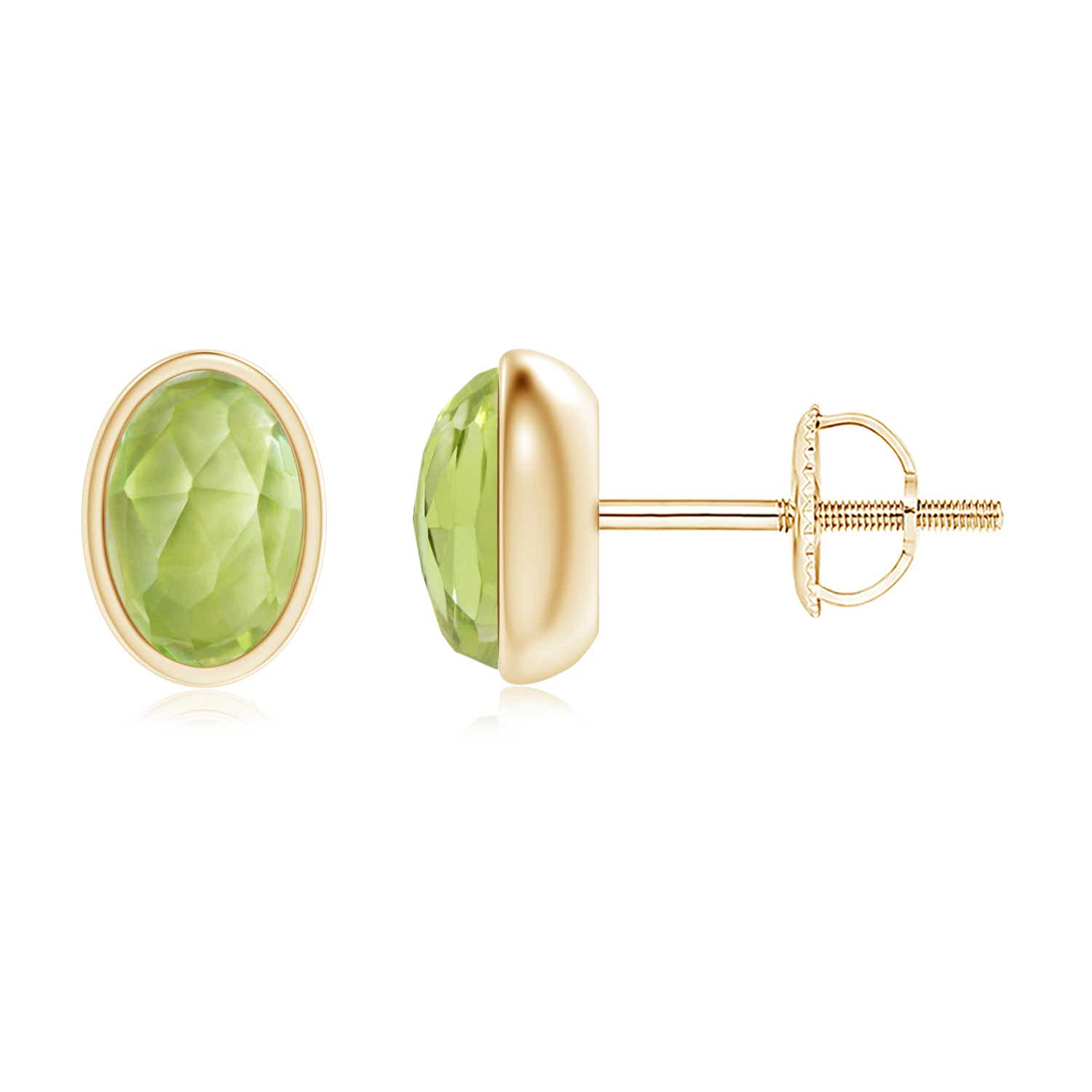 Bezel Set Oval Peridot Solitaire Stud Earrings - Angara.com