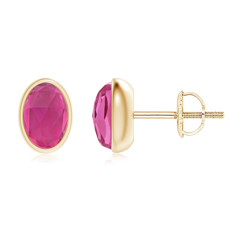 Angara Oval Pink Tourmaline Stud Earrings in 14K White Gold lTYeW8