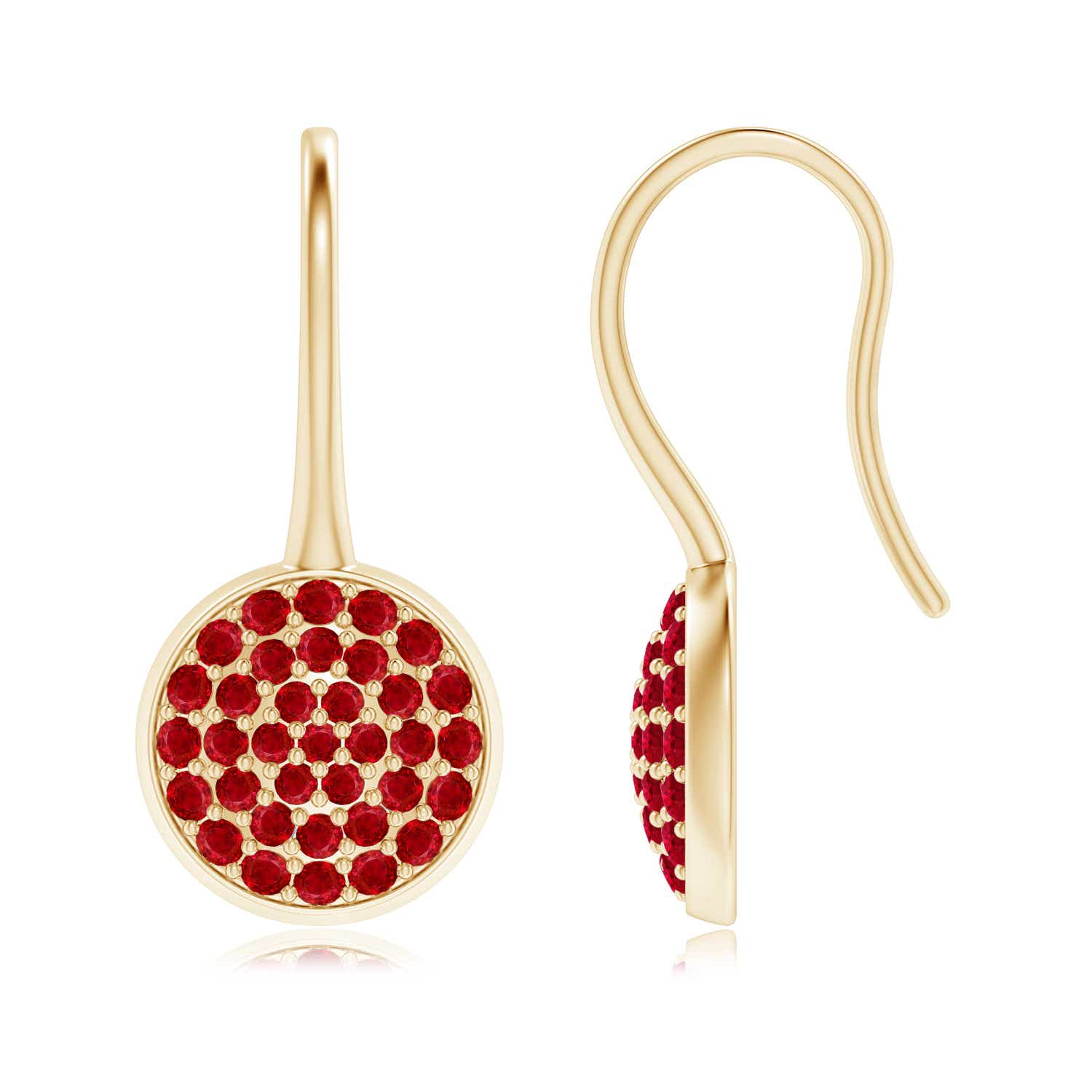 Angara Pave Set Ruby Circle Earrings with Fish Hook KszAGK