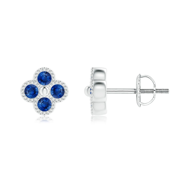 Sapphire Four Leaf Clover Stud Earrings with Beaded Edges - Angara.com