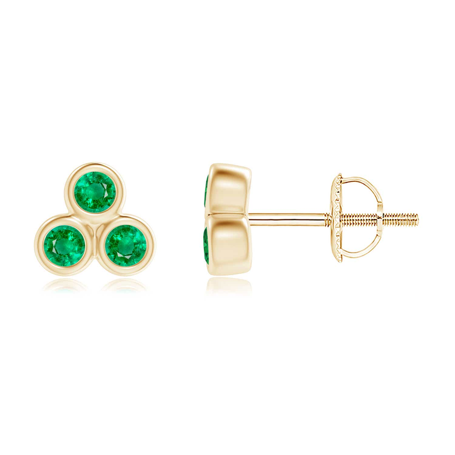 natural trio emerald stud yg silver screw back aaa cluster earrings itm white gold