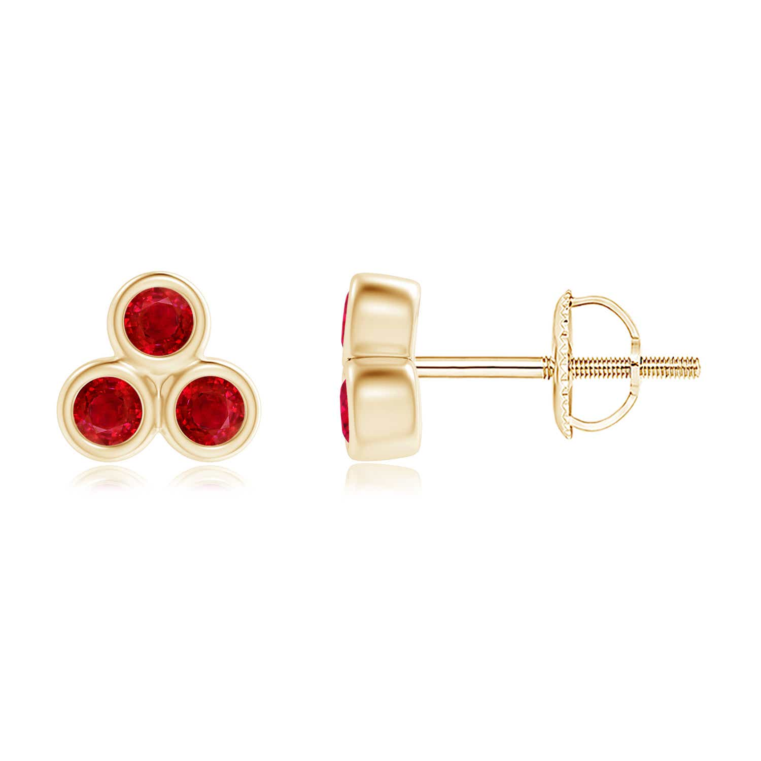Angara Natural Ruby Gemstone Studs for Her in 14k Rose Gold MrHnDd5T