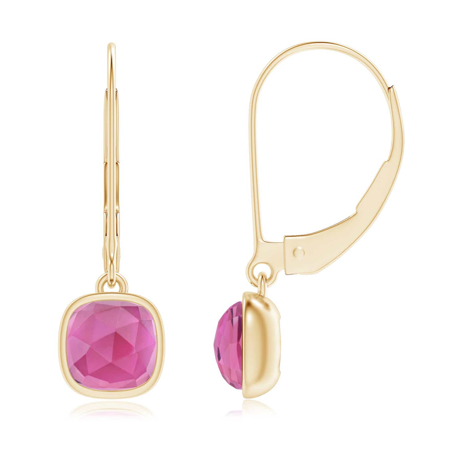 Angara Round Pink Tourmaline Leverback Dangle Earrings in 14K Rose Gold