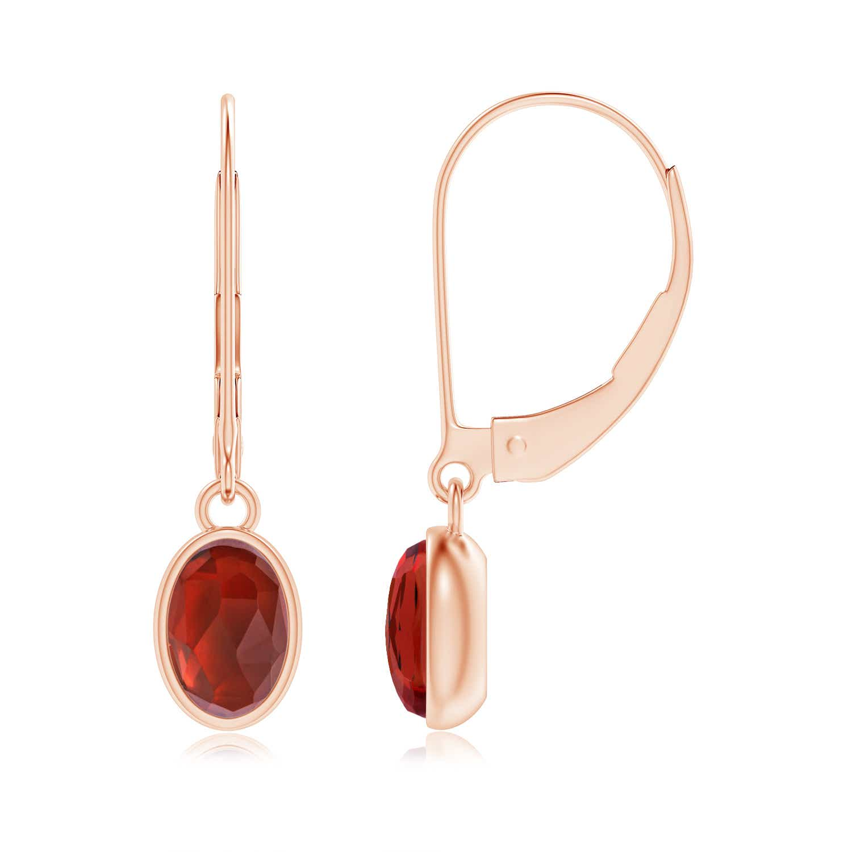 Bezel Set Oval Garnet Solitaire Drop Earrings - Angara.com