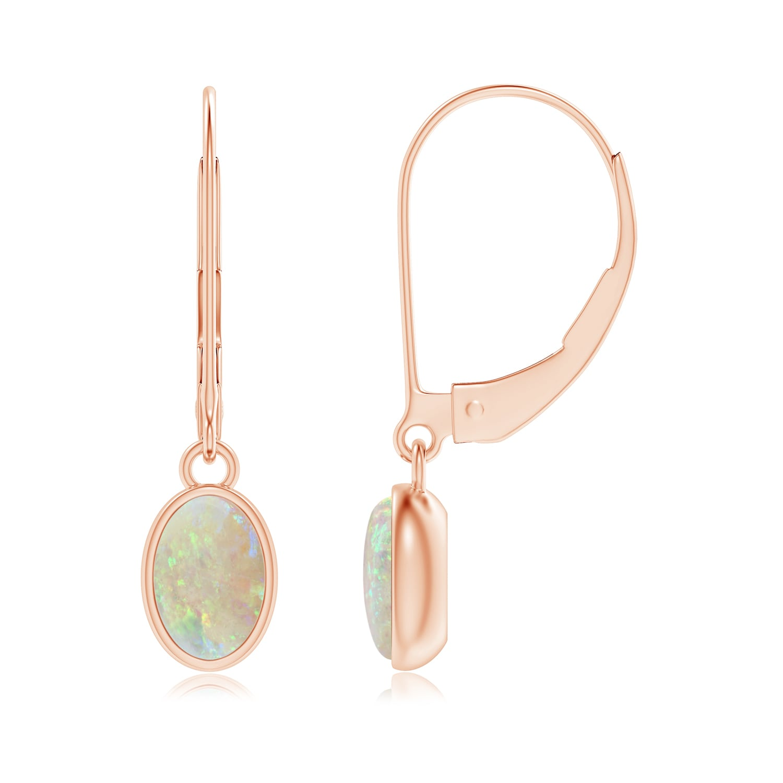 Bezel Set Oval Opal Solitaire Drop Earrings - Angara.com