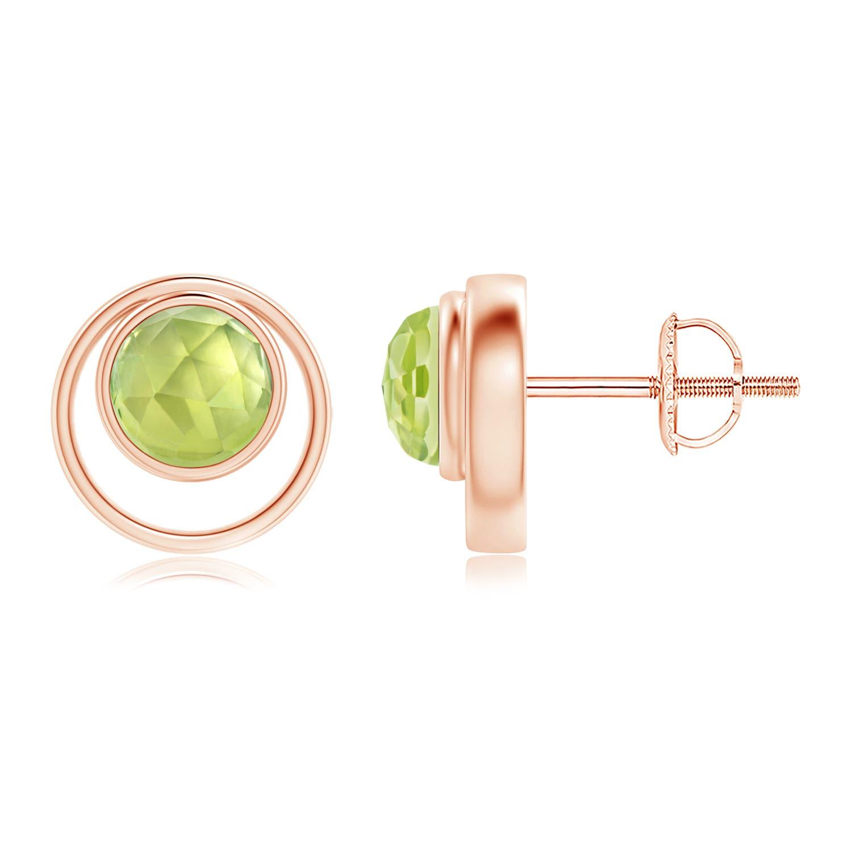 Bezel Set Peridot Concentric Circle Stud Earrings - Angara.com