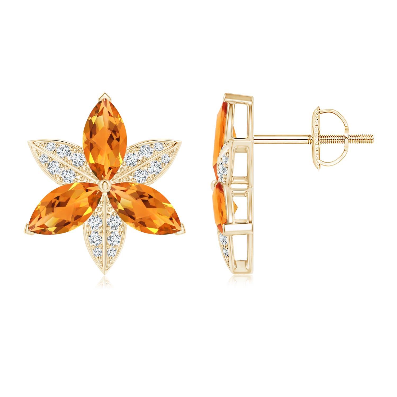 Angara Amethyst and Diamond Trillium Flower Pendant alsxA
