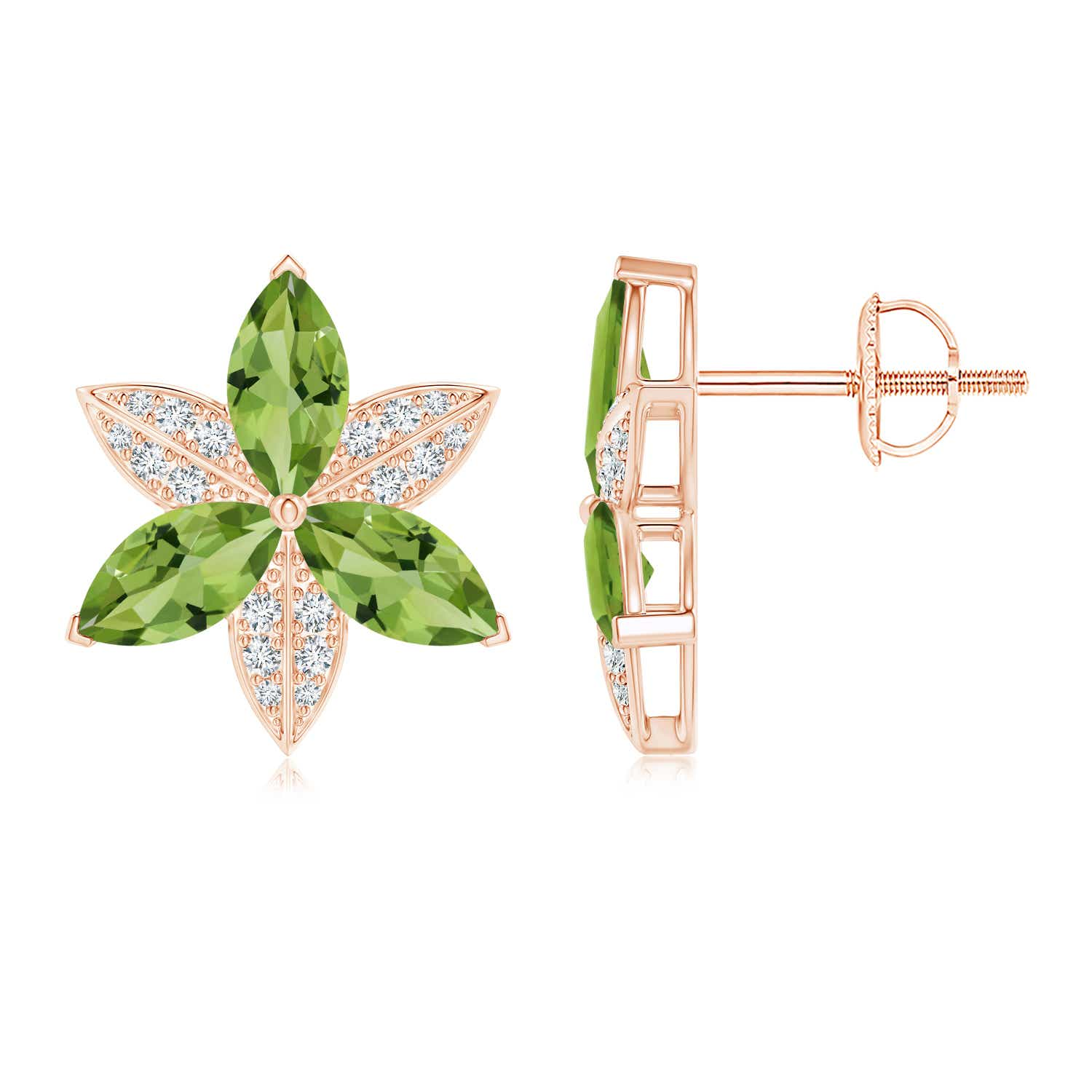 Angara Pear-Shaped Peridot and Diamond Flower Stud Earrings Q9nRny9