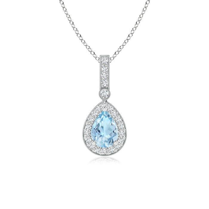 Vintage Diamond Halo Aquamarine Drop Pendant - Angara.com