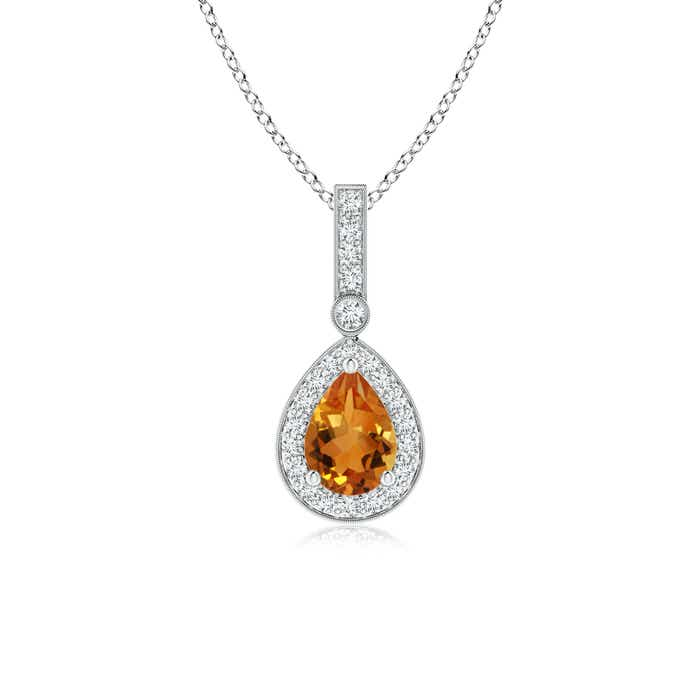 Vintage Diamond Halo Citrine Drop Pendant - Angara.com