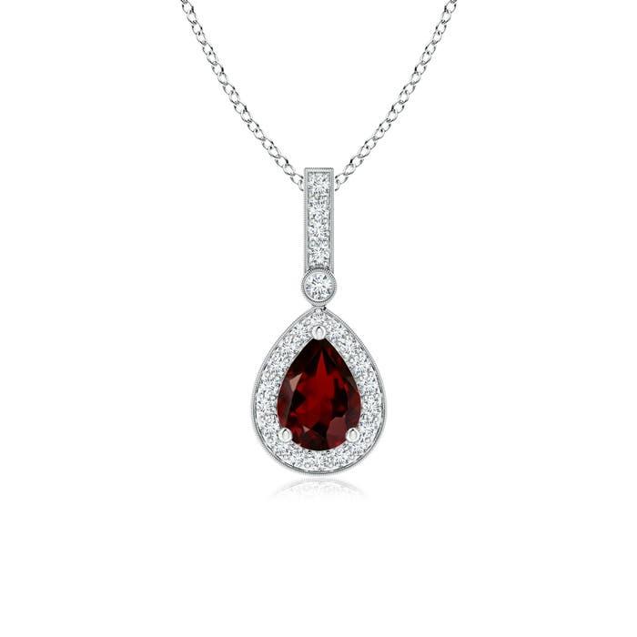 Vintage Diamond Halo Garnet Drop Pendant - Angara.com