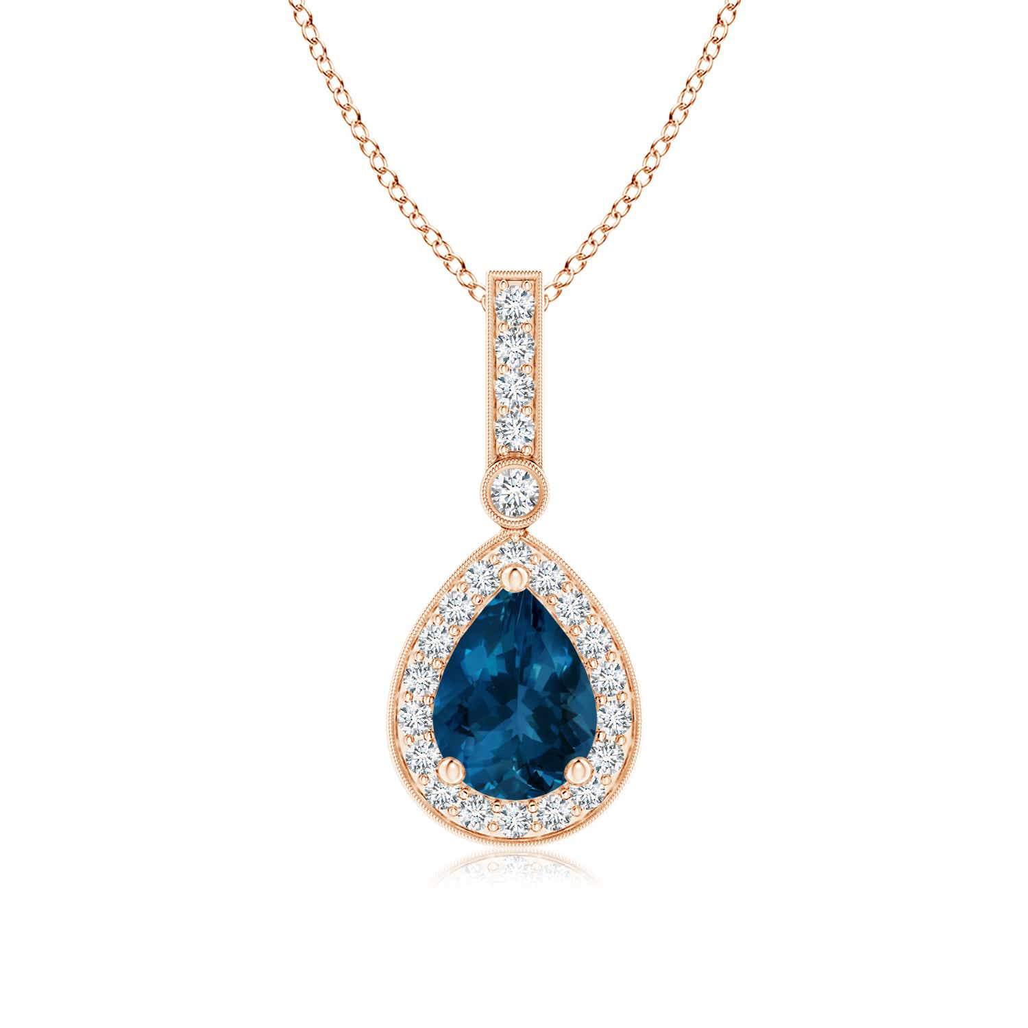 Angara Vintage-Inspired Square Sapphire and Diamond Halo Pendant q43xWzY4FA