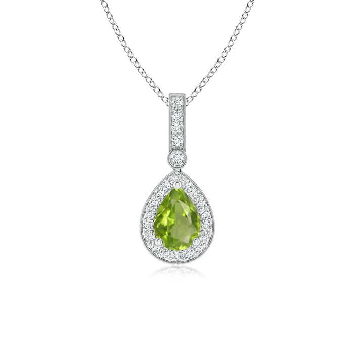Angara Pear Teardrop Peridot Diamond Halo Vintage Necklace in Yellow Gold e4fqwv7