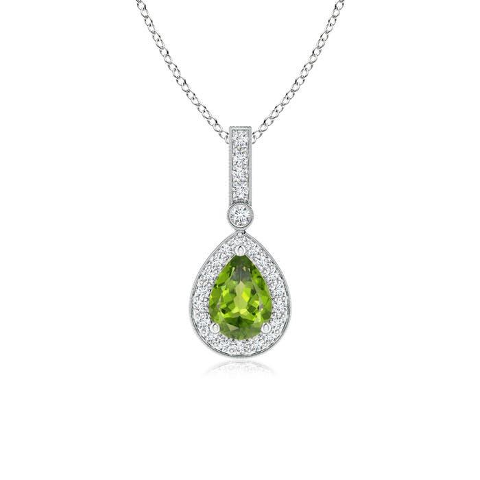 Vintage Diamond Halo Peridot Drop Pendant - Angara.com