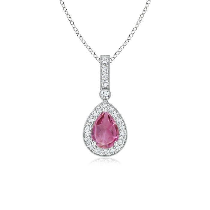 Angara Yellow Gold Diamond Halo Pink Tourmaline Drop Pendant PT6nW189