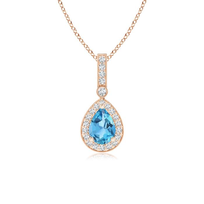 Angara Diamond Halo Swiss Blue Topaz Drop Pendant Platinum rIfWKsGvT