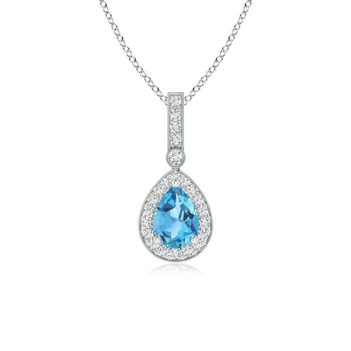 Angara Swiss Blue Topaz and Diamond Halo Vintage Pendant in Rose Gold RJAzHIkgsy