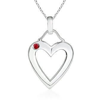 Gypsy-Set Ruby Heart Pendant