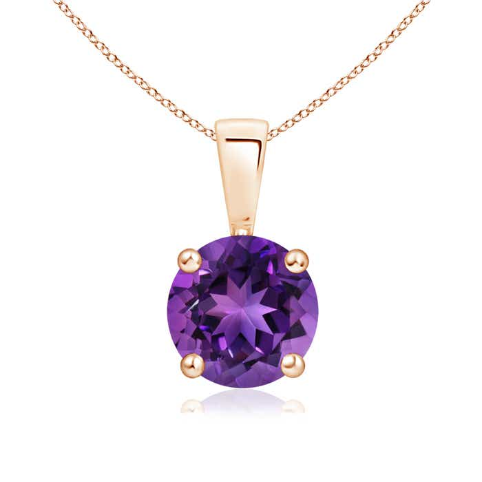 Prong Set Round Amethyst Solitaire Pendant - Angara.com