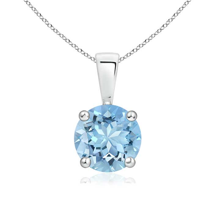 Angara Round Aquamarine and Diamond Two Stone Pendant 69KtI3cZYF