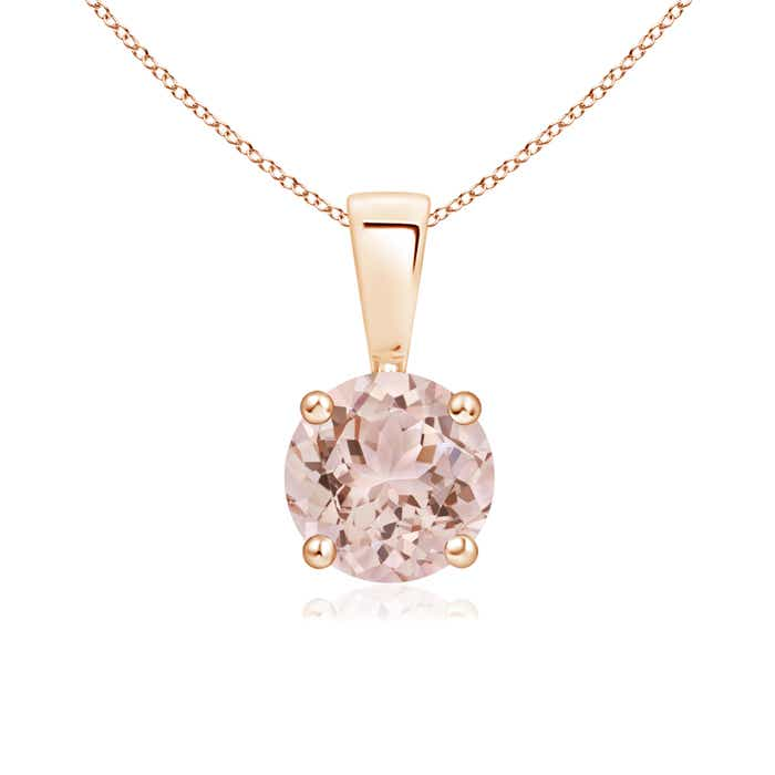 Angara Round Morganite Solitaire Necklace in White Gold
