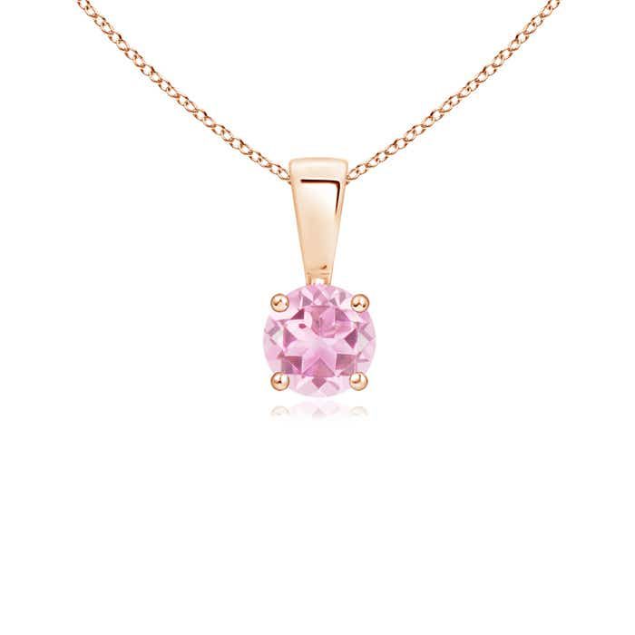 Angara Round Pink Tourmaline Solitaire Necklace in Yellow Gold wITgdeV
