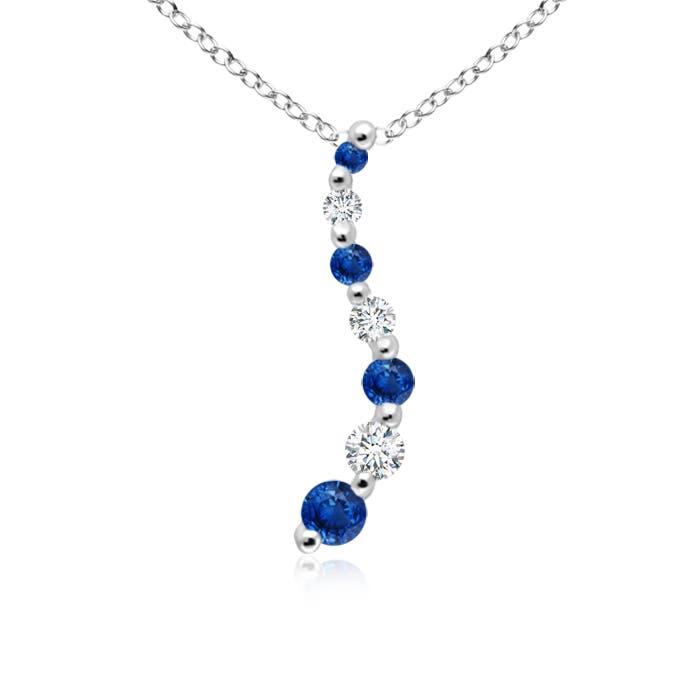 Prong-Set Curved Sapphire and Diamond Journey Pendant - Angara.com