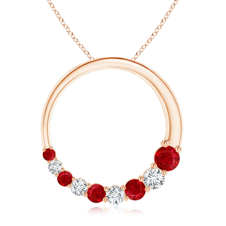 Prong-Set Open Circle Ruby and Diamond Journey Pendant - Angara.com