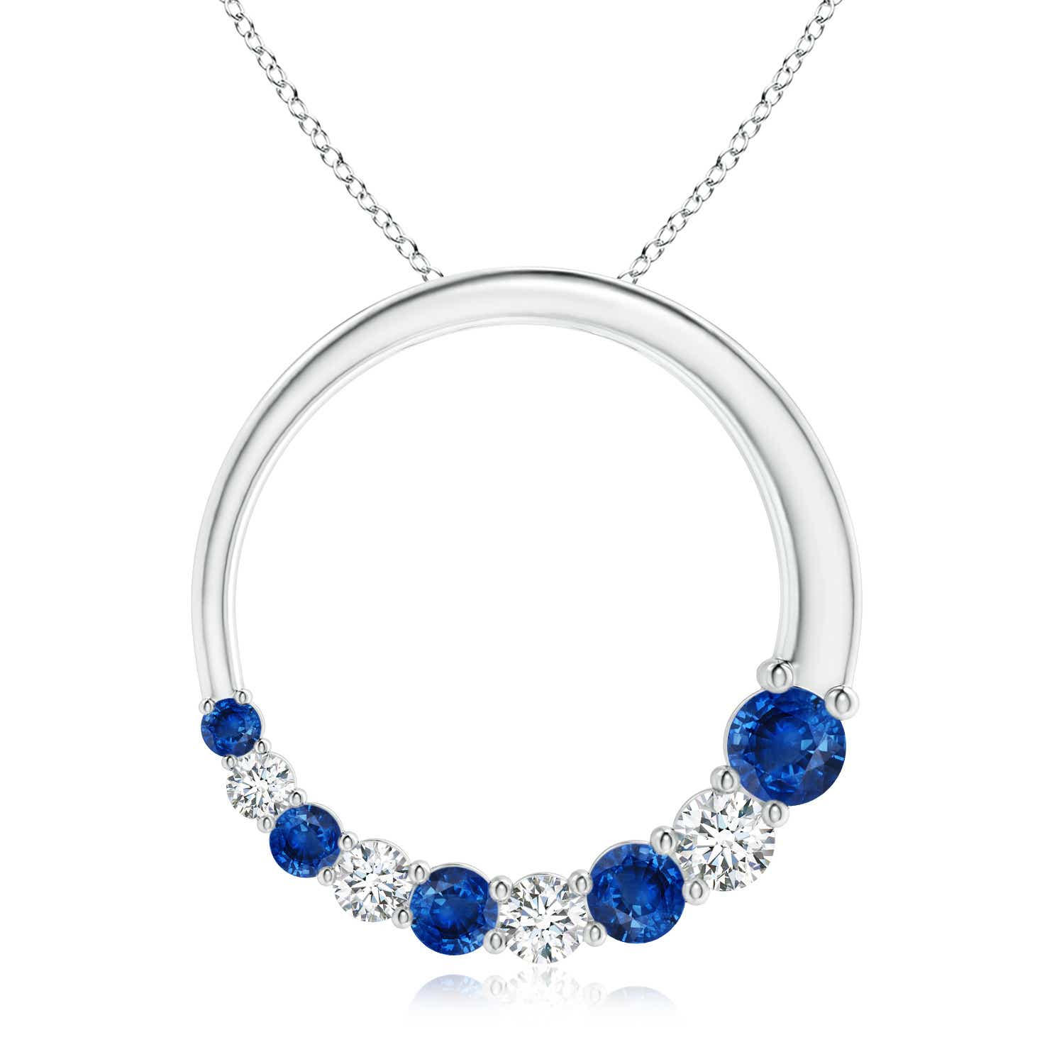 Open Circle Blue Sapphire and Diamond Journey Pendant - Angara.com