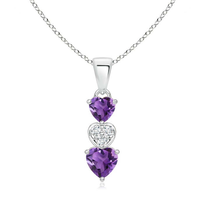 Dangling Amethyst and Diamond Triple Heart Pendant - Angara.com