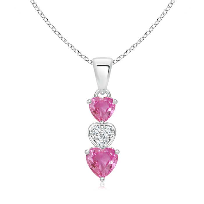 Angara Natural Pink Sapphire Necklace in Rose Gold 6FrFy