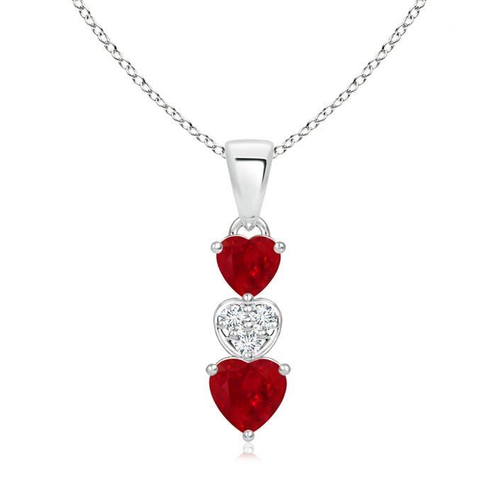 Dangling Ruby and Diamond Triple Heart Pendant - Angara.com