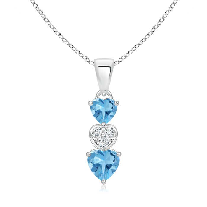 Angara Dangling Swiss Blue Topaz and Diamond Triple Heart Pendant 5GrRi