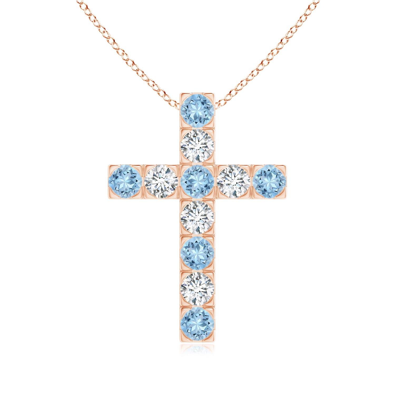 Flat Prong-Set Aquamarine and Diamond Cross Pendant - Angara.com