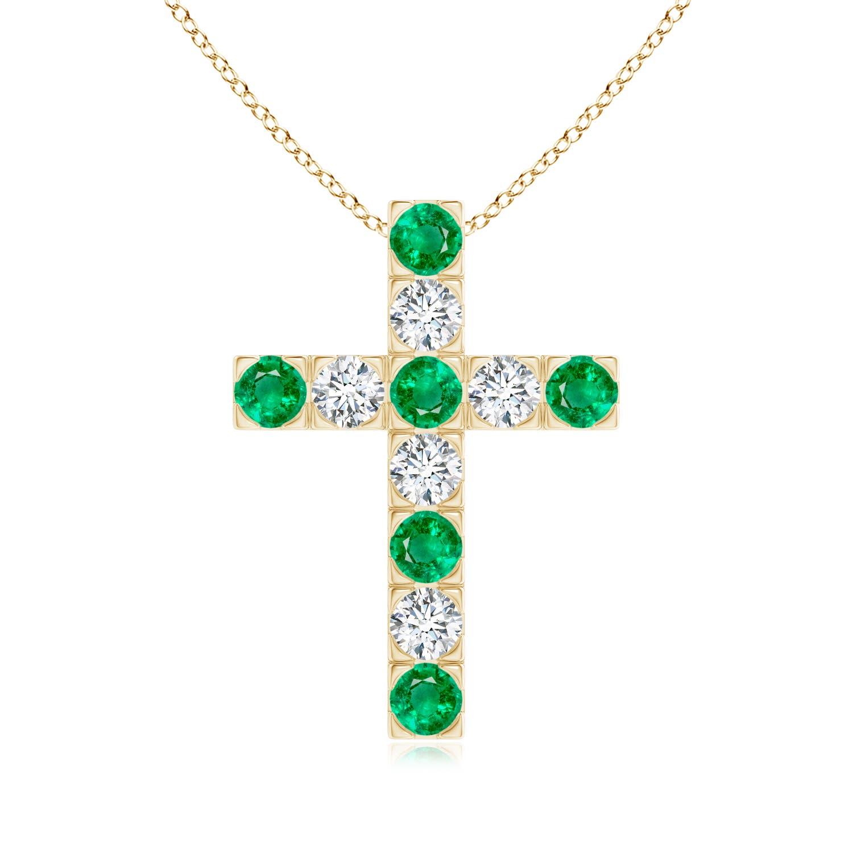 Flat Prong-Set Emerald and Diamond Cross Pendant - Angara.com