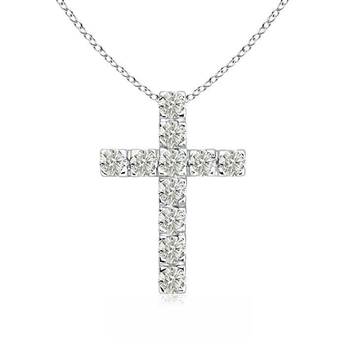 Flat Prong-Set Moissanite Cross Pendant Necklace - Angara.com