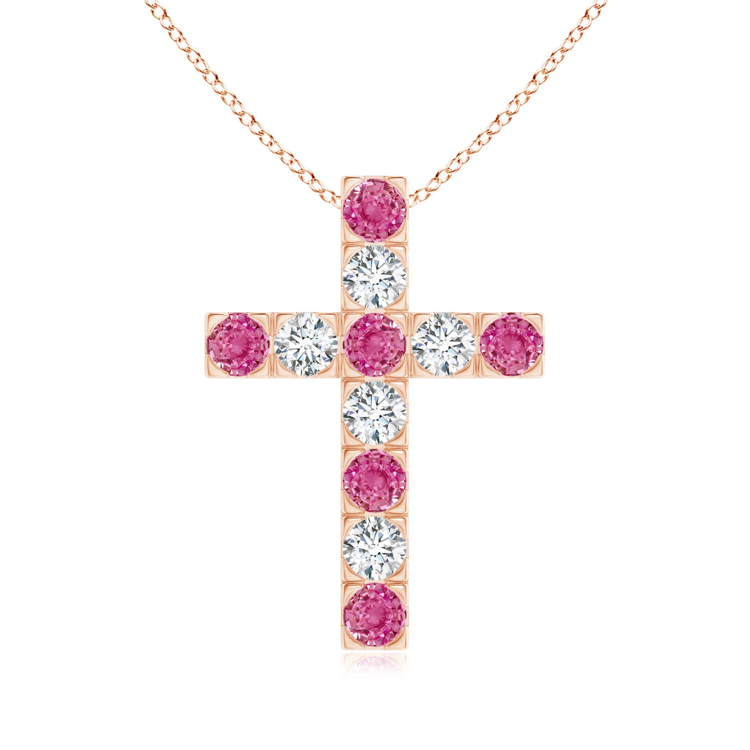 Flat Prong-Set Pink Sapphire and Diamond Cross Pendant - Angara.com