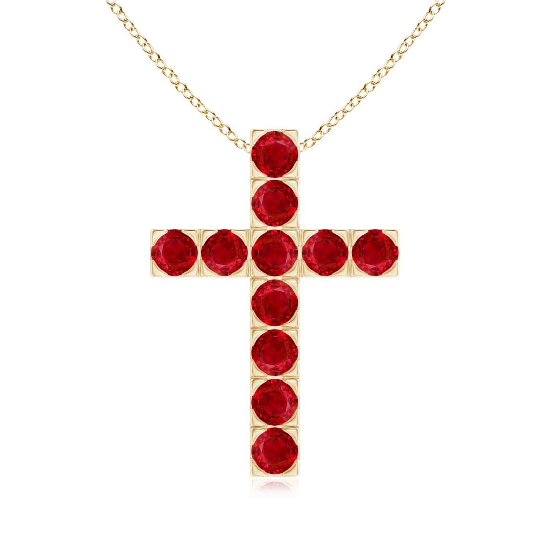 Flat Prong-Set Round Ruby Cross Pendant Necklace - Angara.com