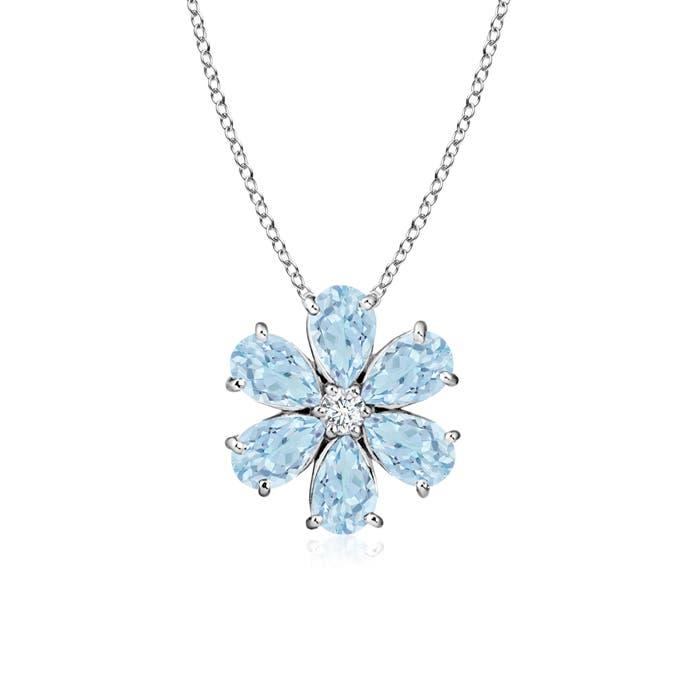 Cluster aquamarine diamond flower pendant necklace 14k white gold cluster aquamarine diamond flower pendant necklace 14k white aloadofball Gallery