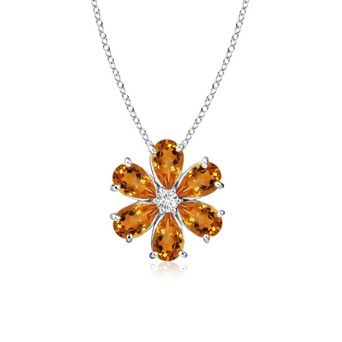 Prong-Set Cluster Citrine Flower Pendant with Diamond - Angara.com