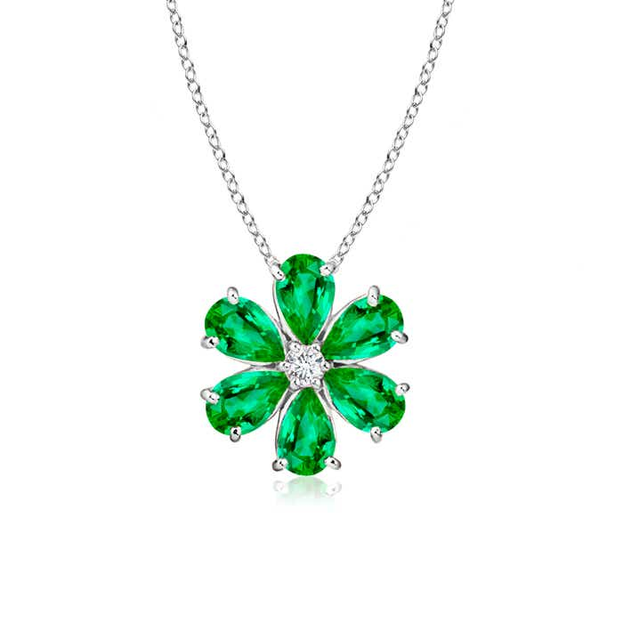 Prong-Set Cluster Emerald Flower Pendant with Diamond - Angara.com
